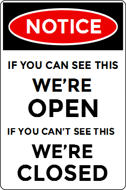 Open and closed sign template