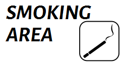 Show the Designed spots where to smoke outdoors with this smoking warning sign template! Customize the needed size to add red color to attract more attention - and its ready!