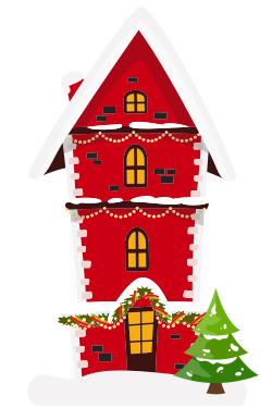 Christmas decorated house template