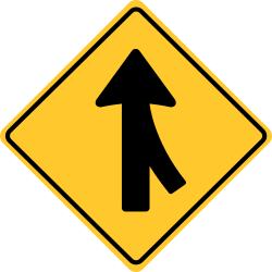 Merge sign | Traffic merging as a side road ends