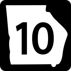 GA Two Digit state route shield sign shows 2 Lane SN state highway