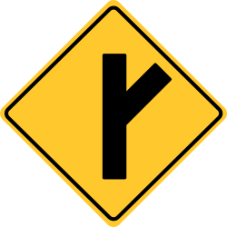 Side road enters highway ahead at an angle.