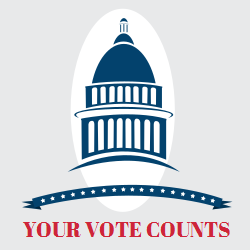 Image of a voting badge that says your vote counts. Graphics are printed immediately upon completion of your order.