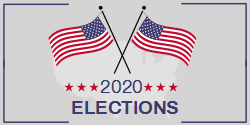 US Crossed Flags |  2020 elections template with a grey background