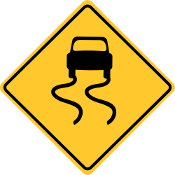 Road slippery sign | Let know that the road ahead is slippery.