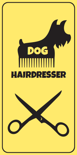 Dog hairdresser sign template ideal to use in any interior or exterior. Attract more prospects and pet parents into your store with this unique illustrations.