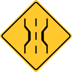Narrow Bridge Sign | Bridge allows room for only two traffic lanes