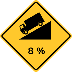 Steep grade | Warns road users of the steep grade on the road ahead.