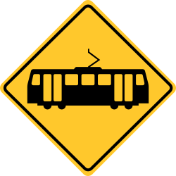 Light rail crossing sign | Warns about approaching train ahead