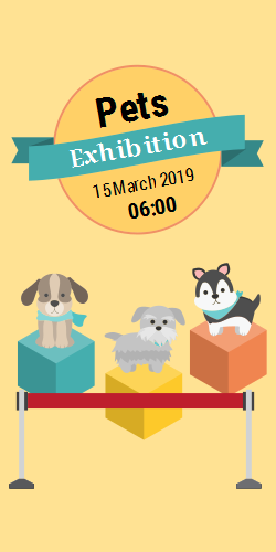 Pets exhibition | Note a date |  Image of  different dogs