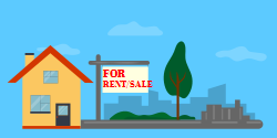 For Rent | House for rent  ad is mounted  outside