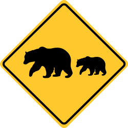 Bear crossing sign | Warns to watch for potential danger ahead