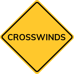 Crosswinds sign | Indicates a section of road with a strong crosswind
