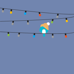 Home Decor Blue Bird Sitting On Colorful Christmas Lights