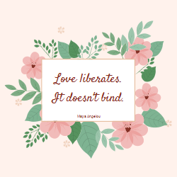 Valentine's Day template with flowers