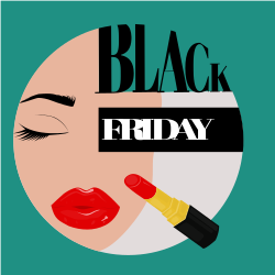 Black Friday | Woman with long eyelashes and red lipstick