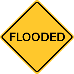 Flooded sign | Warning of flooded areas which got a lot of water