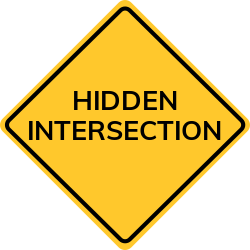 Hidden intersection signs | Warning about unexpected road parts