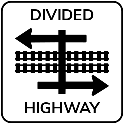 Divided highway crossing | Divides hwy for approaching drivers