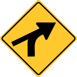 Intersection sign on a curve (left) diamond Shaped yellow background.