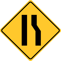 Right lane ends sign | When Number of lanes reduced ahead