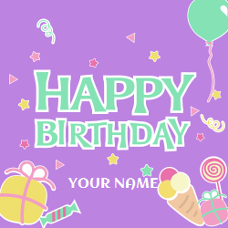 Happy Birthday decorative template for ice cream lovers