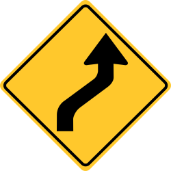 Curve Right sign | where the horizontal roadway alignment changes