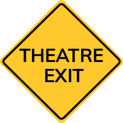 Theatre exit sign | Points out the exact section to exit