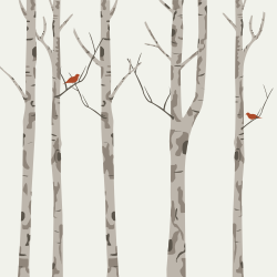 Canoe birches with a bird on the light brown background