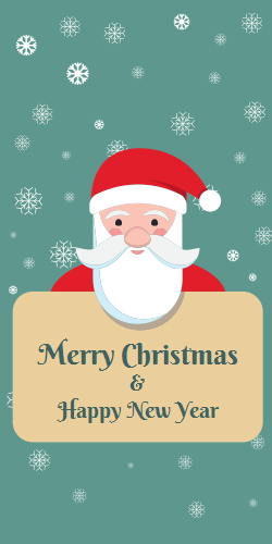 Santa Claus wishing a Merry Christmas and Happy New Year