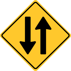 Two Way traffic sign | travelling in  both directions on the road.