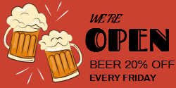 We are open sign template for your brewery business. Creative business outstanding sign by easily customizing the template according to your liking