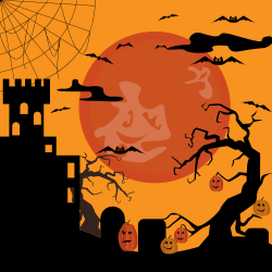 Halloween | pumpkins, bats, ghosts under full moon