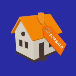 Real estate For Sale | House for Sale on Orange Background