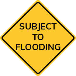 Flooding sign | Warns sections of road ahead  may have water flowing.