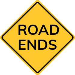 Road ends sign | Approaching a roundabout