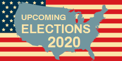 Upcoming Elections The Us Map On The Background Of Us Flag