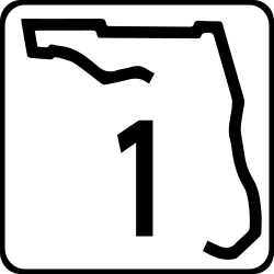 FL state Single Digit state highway shield 2 colored sign