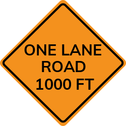 One Lane Road Ahead sign   About several lanes that will be closed