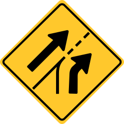 Added Lane sign | Warning about traffic entering from the side.