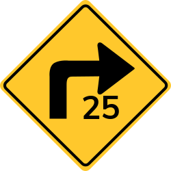 Advisory Speed Sign | The safe speed is below the legal speed
