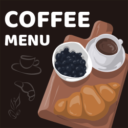 Coffee Menu | Croissants, blueberry and a cup of coffee