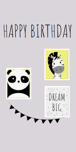 Happy birthday | dream big | panda image