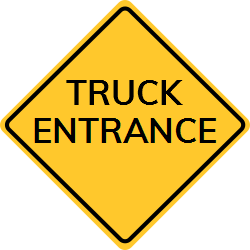 Truck Entrance sign | Black symbol on a yellow background