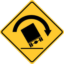 Truck Rollover sign | Warns of vehicles with a high center of gravity