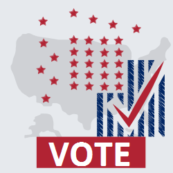 Vote | Designed with US flag background