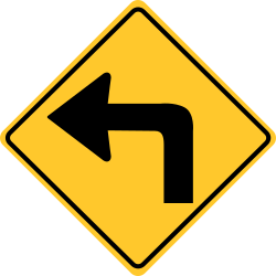 Turn left sign | Only allowed from the lane displaying this sign