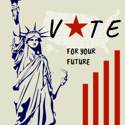 This template will exhort you to vote for your future. The statue of Liberty gives a solid look to your promotional campaign.