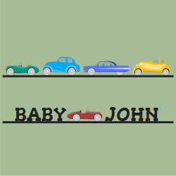 Different Colored Thread Cars Collection For Babies Home Signs
