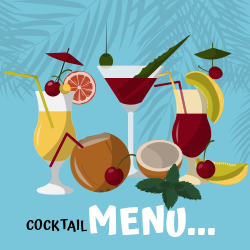 Cocktail Menu... | Three cocktails with lots of fruits